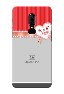 One Plus 6 Red Pattern Mobile Cover Design