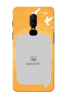 One Plus 6 watercolour design with bird icons and sample text Design Design