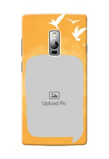 OnePlus 2 watercolour design with bird icons and sample text Design Design