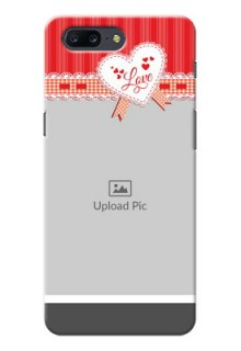 OnePlus 5 Red Pattern Mobile Cover Design