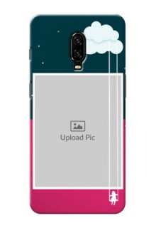 Oneplus 6T custom phone covers: Cute Girl with Cloud Design