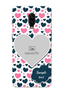 Oneplus 6T Mobile Covers Online: Pink & Blue Heart Design