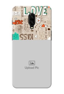 Oneplus 6T Personalised mobile covers: Love Doodle Pattern