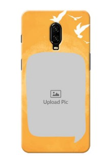 Oneplus 6T Phone Covers: Water Color Design with Bird Icons