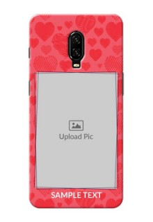 Oneplus 6T Mobile Back Covers: with Red Heart Symbols Design