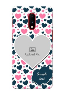 Oneplus 7 Mobile Covers Online: Pink & Blue Heart Design
