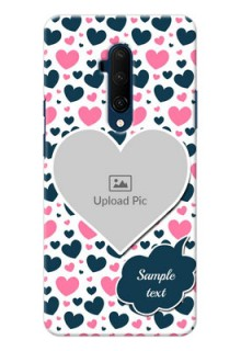 Oneplus 7T Pro Mobile Covers Online: Pink & Blue Heart Design