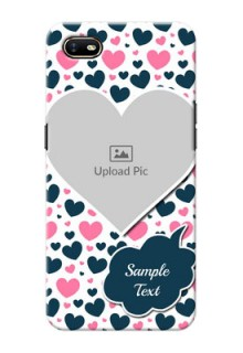 Oppo A1K Mobile Covers Online: Pink & Blue Heart Design