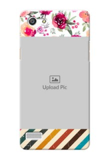Oppo A33 watercolour floral design with retro lines pattern Design