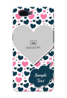OPPO A3s Mobile Covers Online: Pink & Blue Heart Design