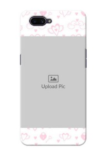 OPPO A3s personalized phone covers: Pink Flying Heart Design