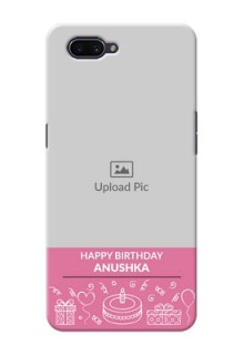 OPPO A3s Custom Mobile Cover with Birthday Line Art Design