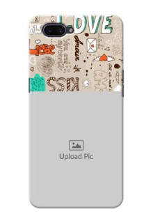 OPPO A3s Personalised mobile covers: Love Doodle Pattern