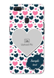 Oppo A5 Mobile Covers Online: Pink & Blue Heart Design