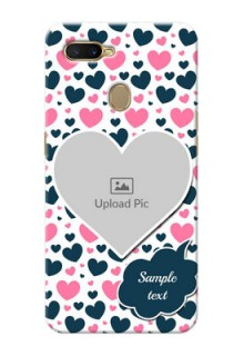 Oppo A7 Mobile Covers Online: Pink & Blue Heart Design