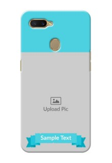 Oppo A7 Personalized Mobile Covers: Simple Blue Color Design