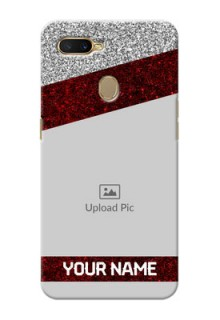 Oppo A7 Mobile Cases: Image Holder with Glitter Strip Design