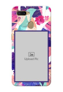Oppo A7 Personalised Phone Cases: Abstract Floral Design