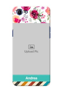Oppo A83 watercolour floral design with retro lines pattern Design