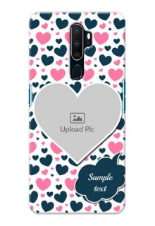 Oppo A9 2020 Mobile Covers Online: Pink & Blue Heart Design