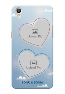 Oppo F1 Plus couple heart frames with sky backdrop Design