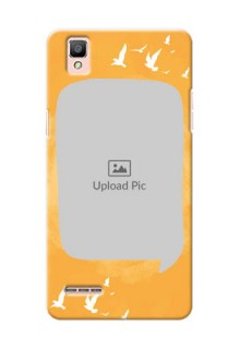 Oppo F1 watercolour design with bird icons and sample text Design Design