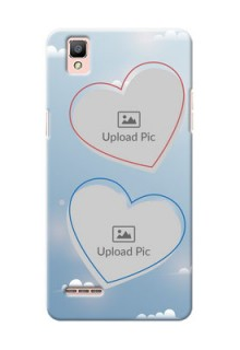 Oppo F1 couple heart frames with sky backdrop Design