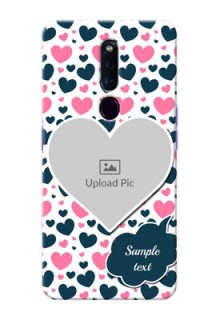 Oppo F11 Pro Mobile Covers Online: Pink & Blue Heart Design