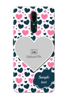 Oppo F11 Mobile Covers Online: Pink & Blue Heart Design