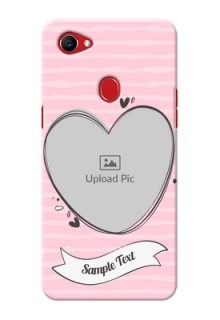 Oppo F7 seamless stripes with vintage heart shape Design