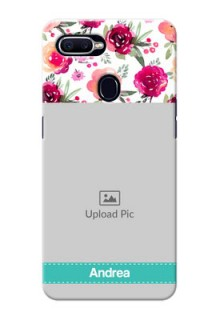 Oppo F9 watercolour floral with retro lines pattern Design