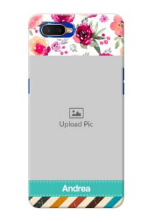 Oppo K1 Personalized Mobile Cases: Watercolor Floral Design