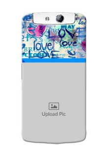 Oppo N1 Colourful Love Patterns Mobile Case Design