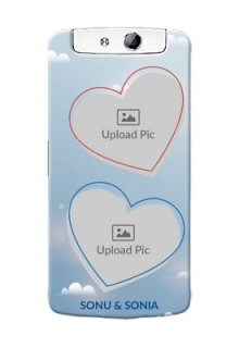 Oppo N1 couple heart frames with sky backdrop Design
