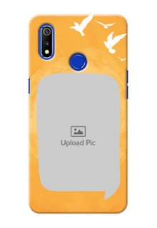 Realme 3 Phone Covers: Water Color Design with Bird Icons