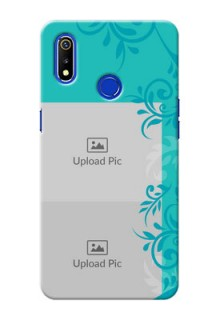 Realme 3i Mobile Cases with Photo and Green Floral Design