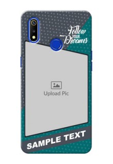 Realme 3i Back Covers: Background Pattern Design with Quote