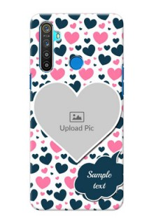 Realme 5 Mobile Covers Online: Pink & Blue Heart Design