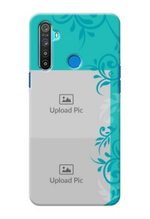 Realme 5 Mobile Cases with Photo and Green Floral Design