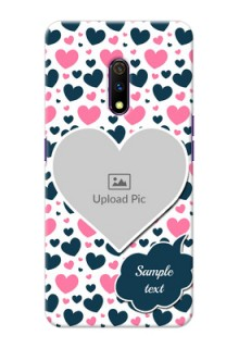 Realme X Mobile Covers Online: Pink & Blue Heart Design