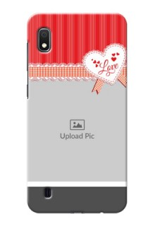 Galaxy A10 phone cases online: Red Love Pattern Design
