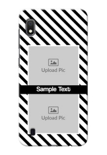 Galaxy A10 Back Covers: Black And White Stripes Design