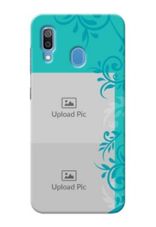 Galaxy A20 Mobile Cases with Photo and Green Floral Design