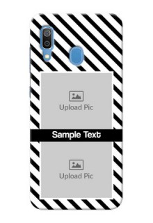 Galaxy A20 Back Covers: Black And White Stripes Design