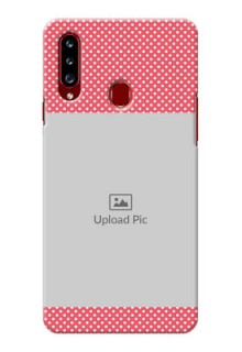 Galaxy A20s Custom Mobile Case with White Dotted Design