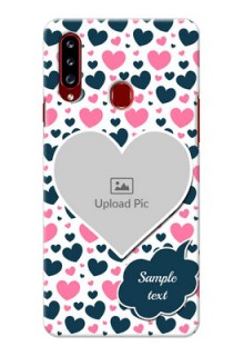 Galaxy A20s Mobile Covers Online: Pink & Blue Heart Design