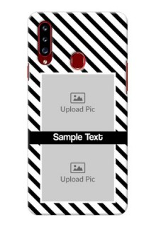 Galaxy A20s Back Covers: Black And White Stripes Design