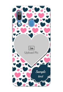 Samsung Galaxy A30 Mobile Covers Online: Pink & Blue Heart Design