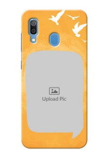 Samsung Galaxy A30 Phone Covers: Water Color Design with Bird Icons