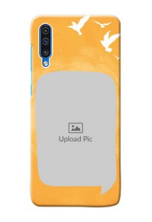 Galaxy A30s Phone Covers: Water Color Design with Bird Icons